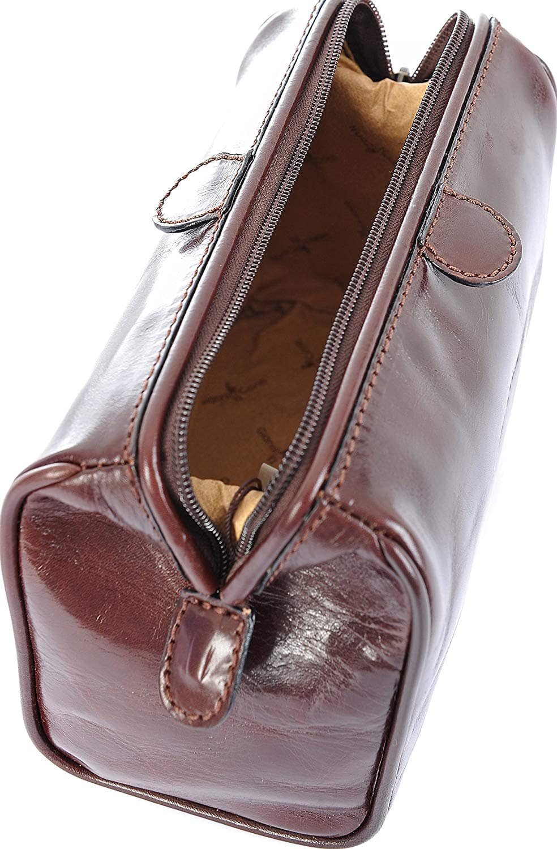 743d0db007 Gianni Conti Fine Italian Leather Brn Mens Frame Travel Wash Toiletry Bag  905000