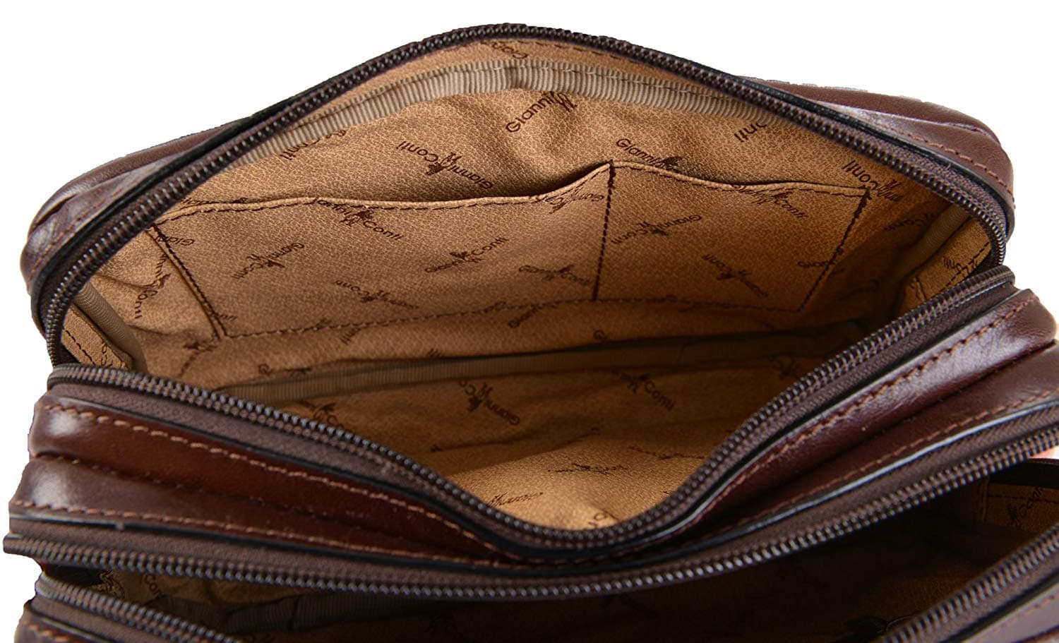 c4cad46aad Gianni Conti Fine Italian Leather BROWN Mens Travel Wash Toiletry Bag 905158