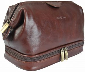 Gianni Conti Fine Italian Leather Brown Frame Travel Wash Toiletry Bag 905011