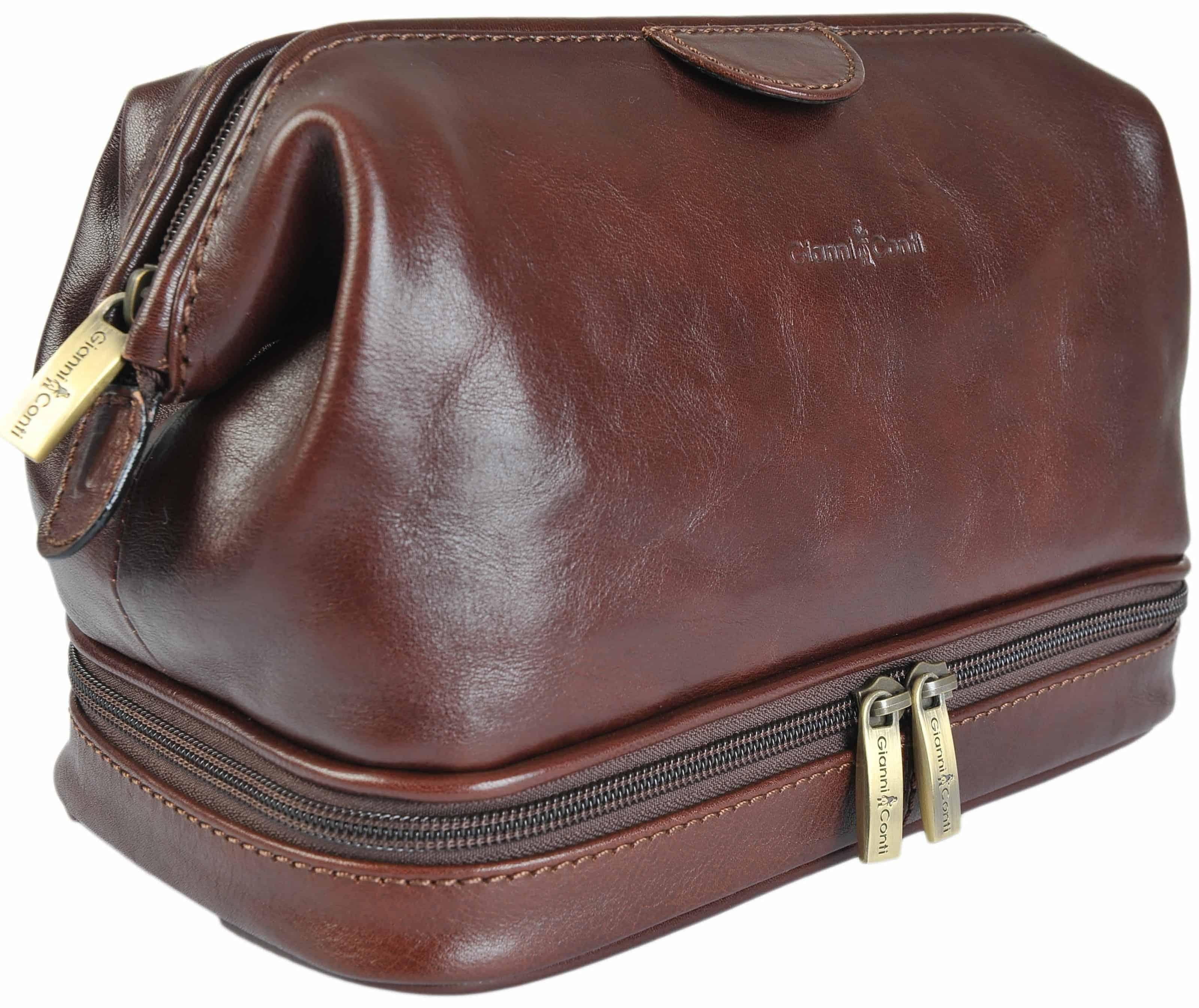 b47ba91fee Gianni Conti Fine Italian Leather Brown Frame Travel Wash Toiletry Bag  905011
