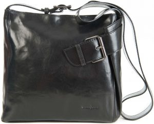 Gianni Conti Black Large Fine Italian Leather Hobo Shoulder Handbag 9403444