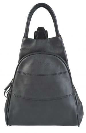 Gianni Conti Fine Italian Leather BLACK Medium Shoulder Rucksack Backpack 584849