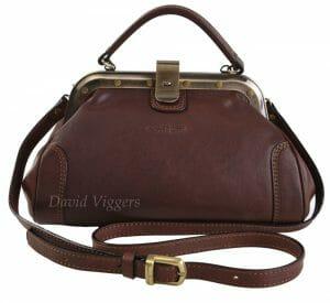 Gianni Conti Fine Italian Small Leather Brown Gladstone Shoulder Bag 913317