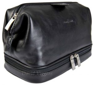 Gianni Conti Fine Italian Leather Black Frame Travel Wash Toiletry Bag 905011