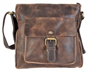 Rowallan Distressed Brown Leather Top Zip Crossbody Bag 9266