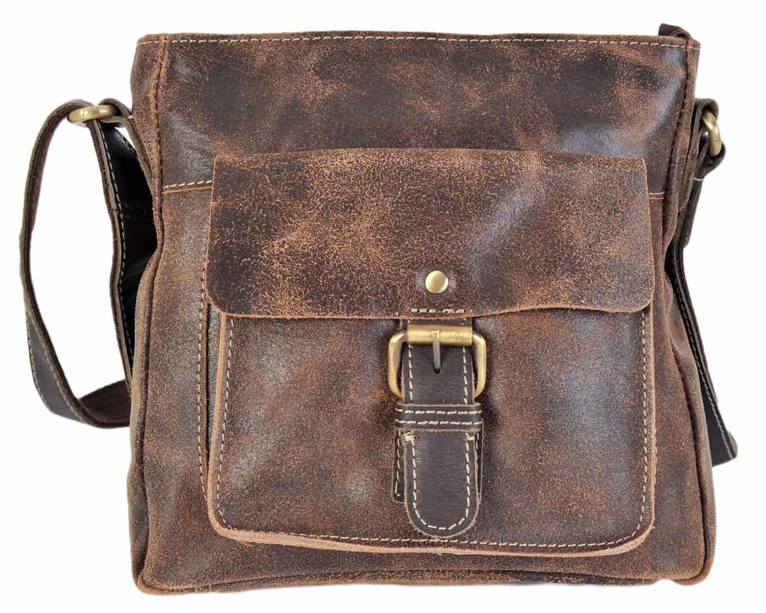 599e8d8fa6 Rowallan Distressed Brown Leather Top Zip Crossbody Bag 9266 - David ...