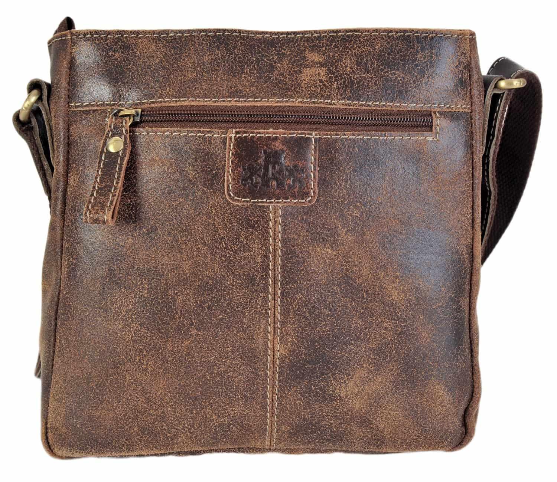 Gianni Conti Italian Real Leather Medium Top Zip Saddle Shoulder Bag 9416132