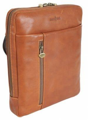 Gianni Conti Medium Tan Italian Leather iPad Tablet Crossbody Bag 912303