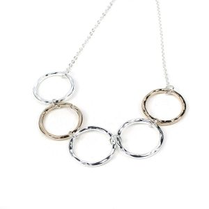 Silver & Rose Gold Plated Beaten Circle Necklace 01977