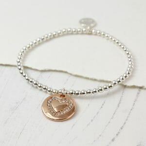 Elasticated Crystal Heart Rose Gold Disc Silver Plated Bracelet 2431