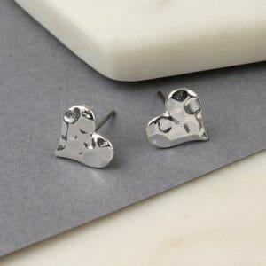 Silver Plated Heart Stud Earrings 01416