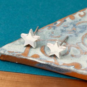 Small Silver Plated Star Stud Earrings 01583