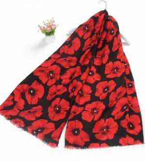 Bold Red Poppy Print Frayed Scarf 2391