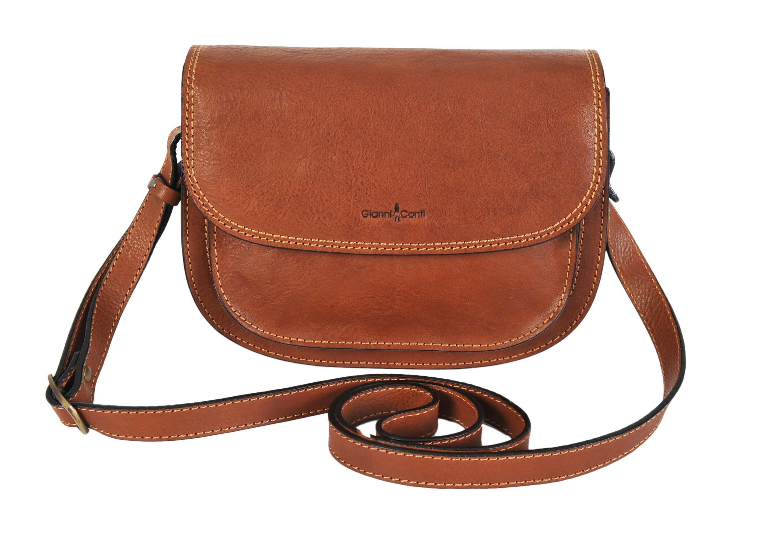 Gianni Conti Fine Tan Italian Leather Saddle Shoulder