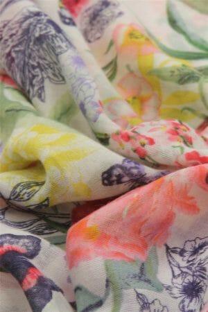 Flower Field & Butterfly Print Scarf 2650
