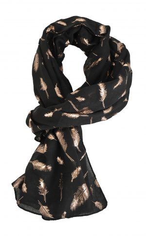 Rose Gold Feather Print Scarf 1931