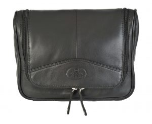 Rowallan Mens Black Soft Leather Hanging Washbag 9789