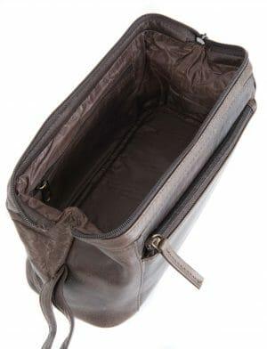 Primehide Framed Soft Leather Mens Washbag Toiletry Bag -951- Dark Brown