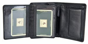 Visconti Black Soft Leather 8 Card RFID With Coin Purse Men Wallet HT-11
