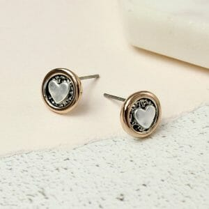 Silver Plated Heart In Rose Gold Circle Earrings 02546.