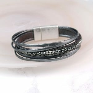 Dark Grey Leather Sparkle Bracelet 02660
