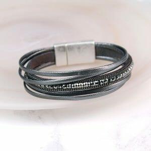 Dark Grey Leather Sparkle Bracelet 02660