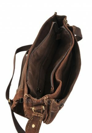 Blousey Brown Buffalo Leather Messenger Bag