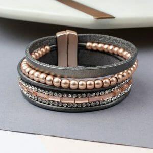 Multi Strand Grey Leather Rose Gold Crystals Bracelet 02233