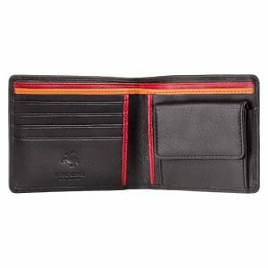 Visconti Bifold Black With Blue & Green Trim Leather Wallet & Coin Purse BD10