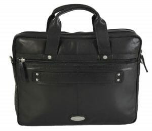 Rowallan Black Leather Two Section Work Bag 32-1283