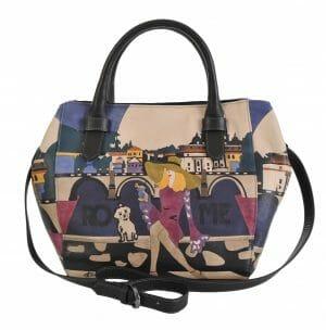 Made In Italy baiadera Hand Painted Handbag Sophia/S Roma 01/nero