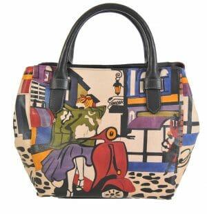 Made In Italy baiadera Hand Painted Handbag Sophie/S Street Italy 02/Nero
