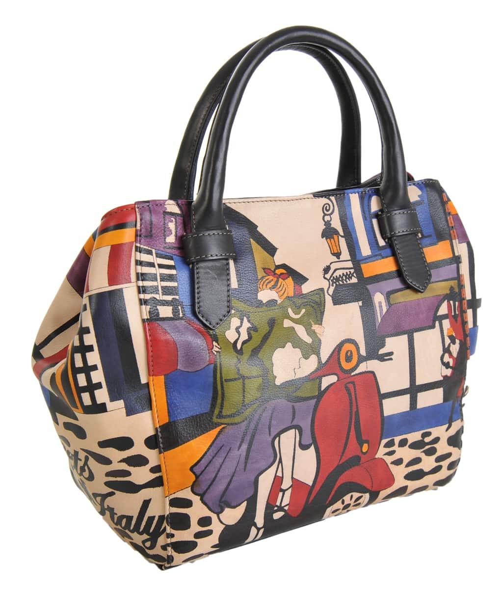 fb673f5bd45c Made In Italy baiadera Hand Painted Handbag Sophie S Street Italy 02 Nero