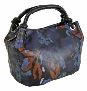 Made In Italy baiadera Hand Painted Handbag Gemma Unito Fiori 02/Nero