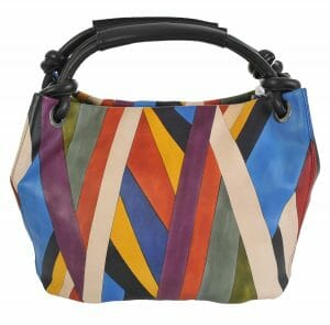 Made In Italy baiadera Hand Painted Handbag Gemma Riga 01/Nero