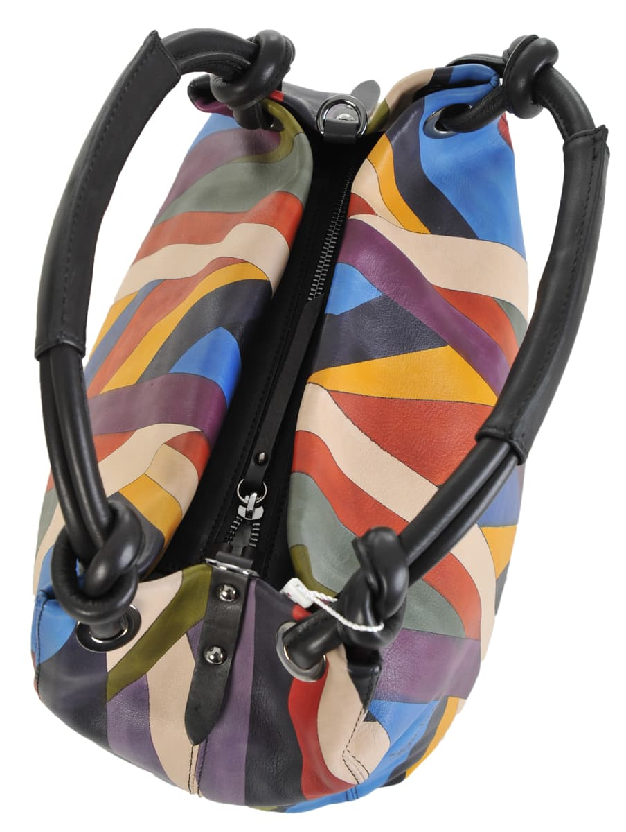 6ac58300e337 Made In Italy baiadera Hand Painted Handbag Gemma Riga 01 Nero ...
