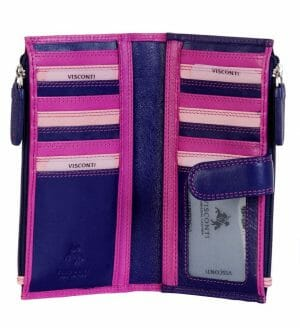 Visconti Soft Leather 3-Tone Women's Purse 17 Card Slots RB100