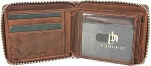 Prime Hide Zip Around Leather Mens Wallet 8507