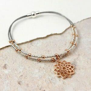 Grey Leather Rose Gold Mandala Bracelet 02424