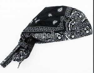 DV Fashions 100% Cotton Black/ White Paisley Zandana Bandana DV147