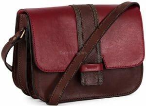Gianni Conti Italian Leather Medium Brown / Red Flap Shoulder Bag 973875
