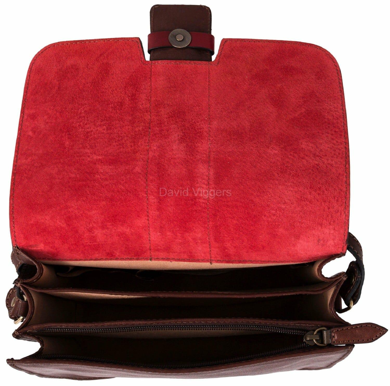 7b5721ae3a9 Gianni Conti Italian Leather Medium Brown / Red Flap Shoulder Bag 973875