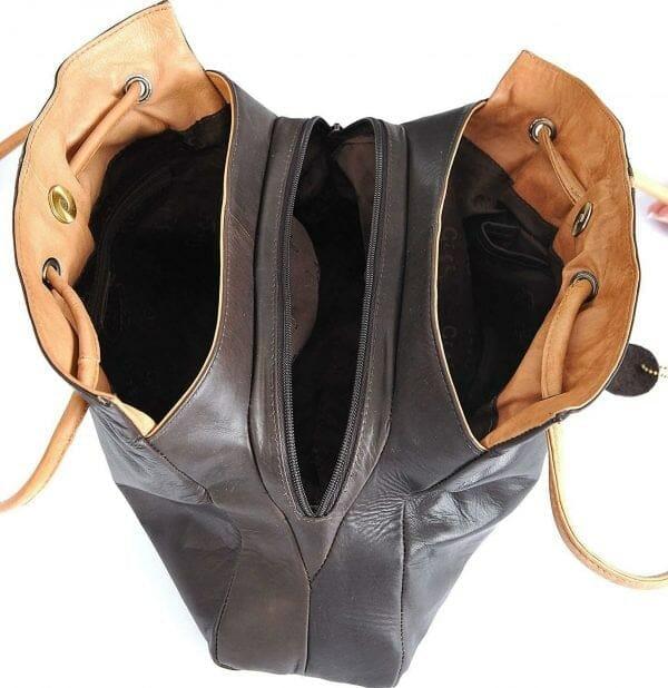 Gigi Othello Two//Tone Soft Leather 3 Section Shoulder Handbag 4323